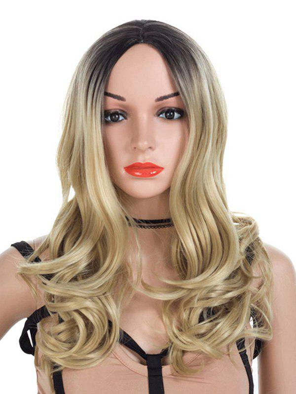 Middle Parting Synthetic Long Colormix Wavy Wig - FALL LEAF BROWN