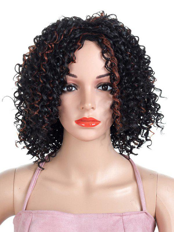 Medium Colormix Shaggy Curly Synthetic Wig - BLACK