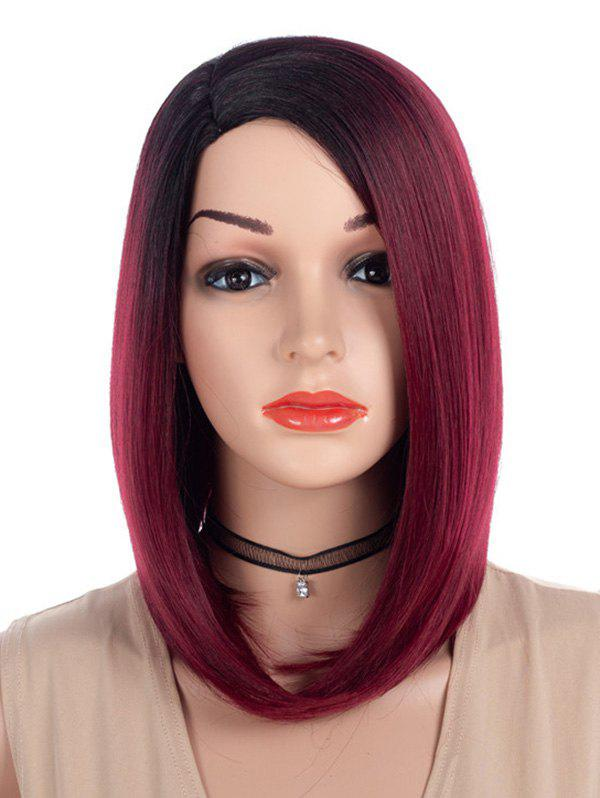 Side Parting Ombre Straight Medium Bob Synthetic Wig - RED WINE