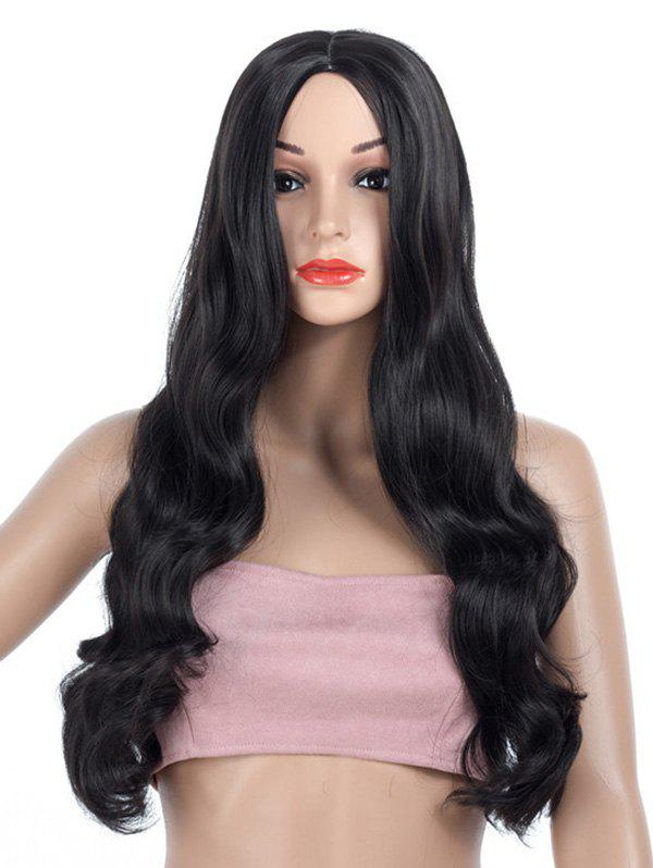 Middle Parting Long Body Wave Synthetic Wig - BLACK