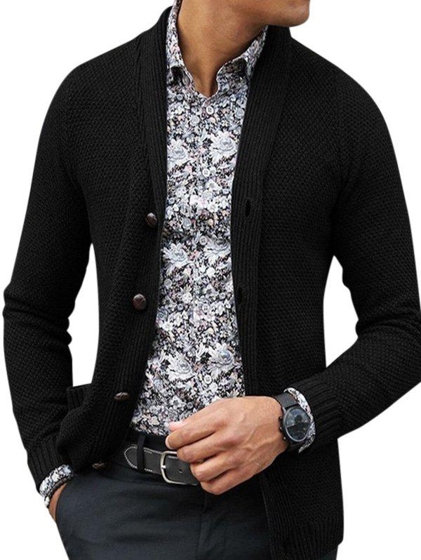 Shawl Collar Single Breasted Pockets Knitted Cardigan - BLACK S