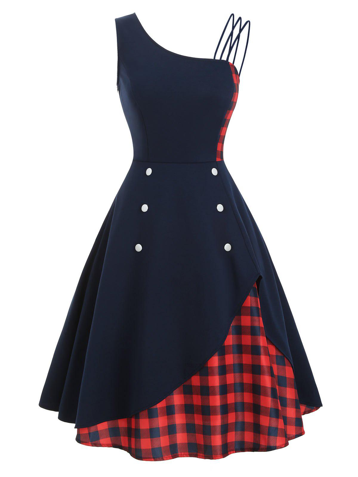 Skew Neck Button Embellished Colorblock Rockabilly Style Dress - DEEP BLUE S