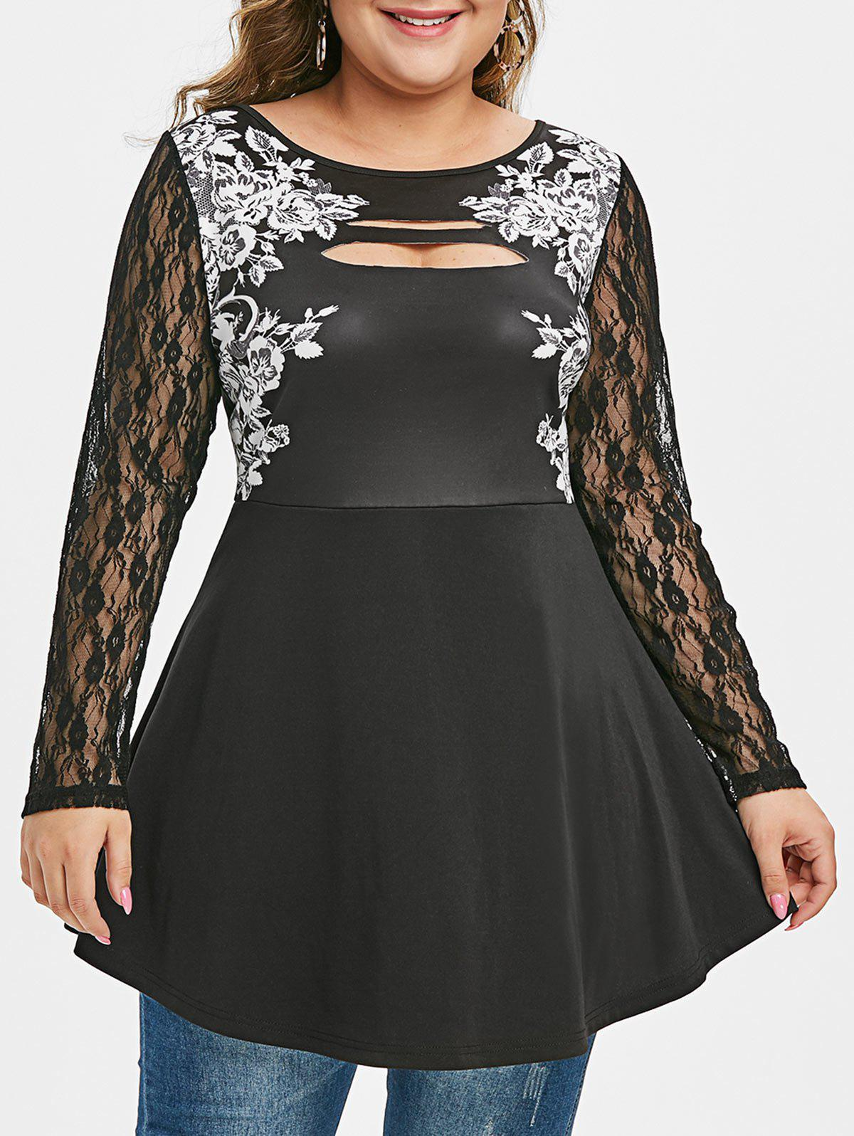 Plus Size Lace Sleeve Floral Print Ripped T Shirt - BLACK L