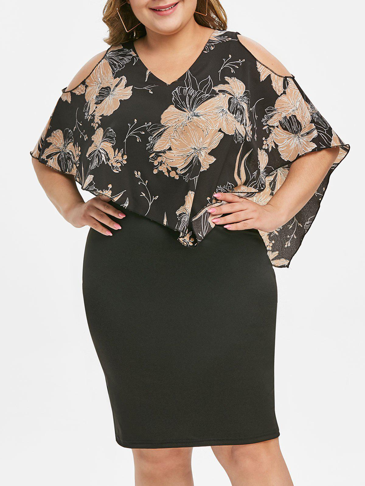 Floral Overlay Side Zipper Plus Size Bodycon Dress - BLACK 4X