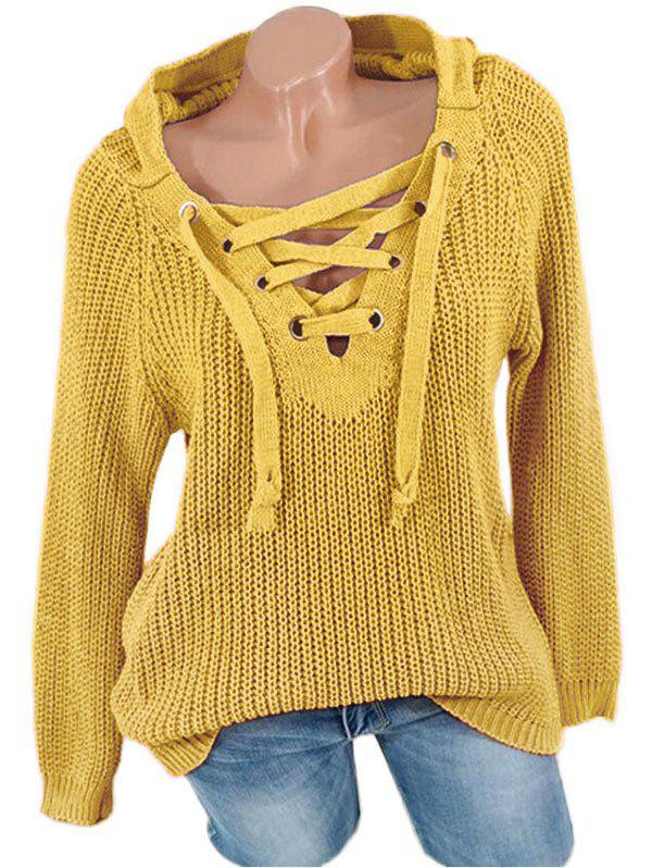 Lace Up Solid Hooded Sweater - GOLDEN BROWN S