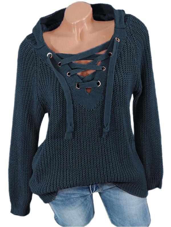 Lace Up Solid Hooded Sweater - MIDNIGHT BLUE S