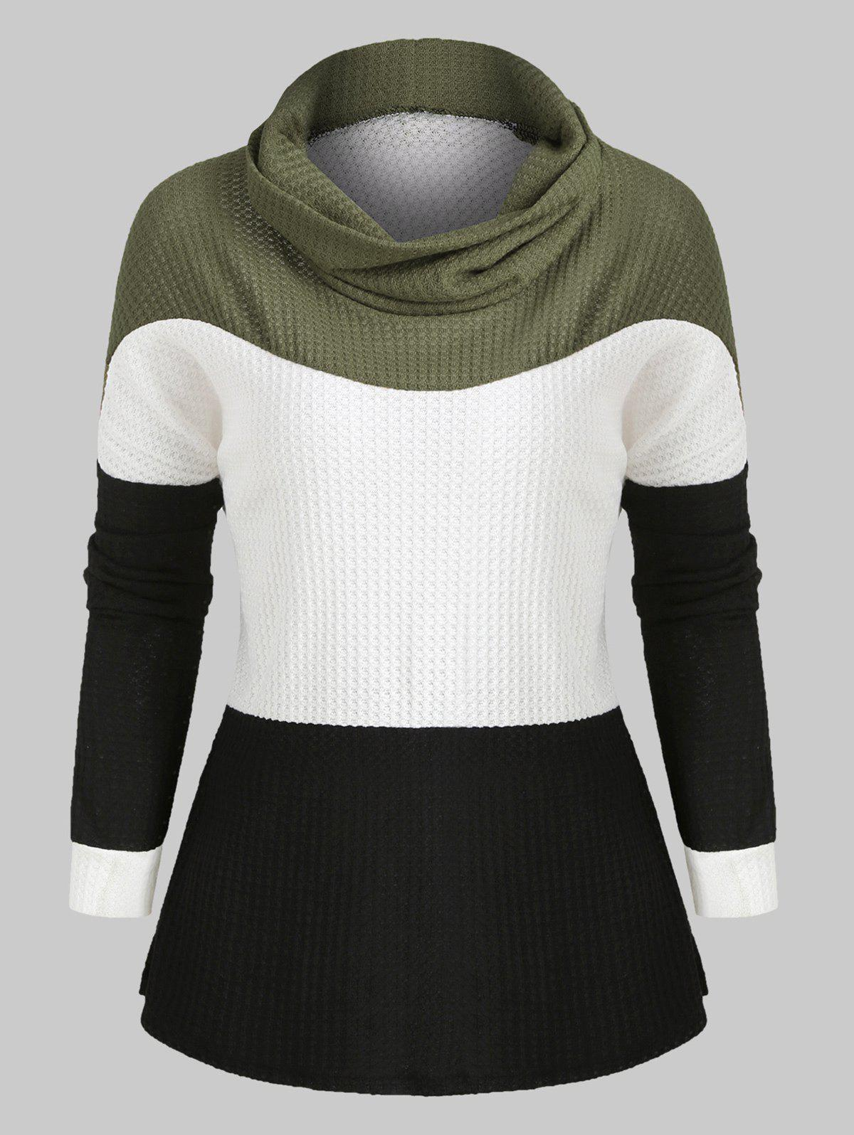 Cowl Neck Colorblock Long Sleeves Knitwear - CAMOUFLAGE GREEN XL