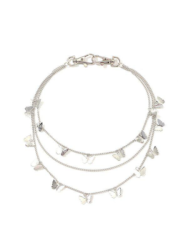 Butterfly Pendant Multilayered Waist Chain - SILVER