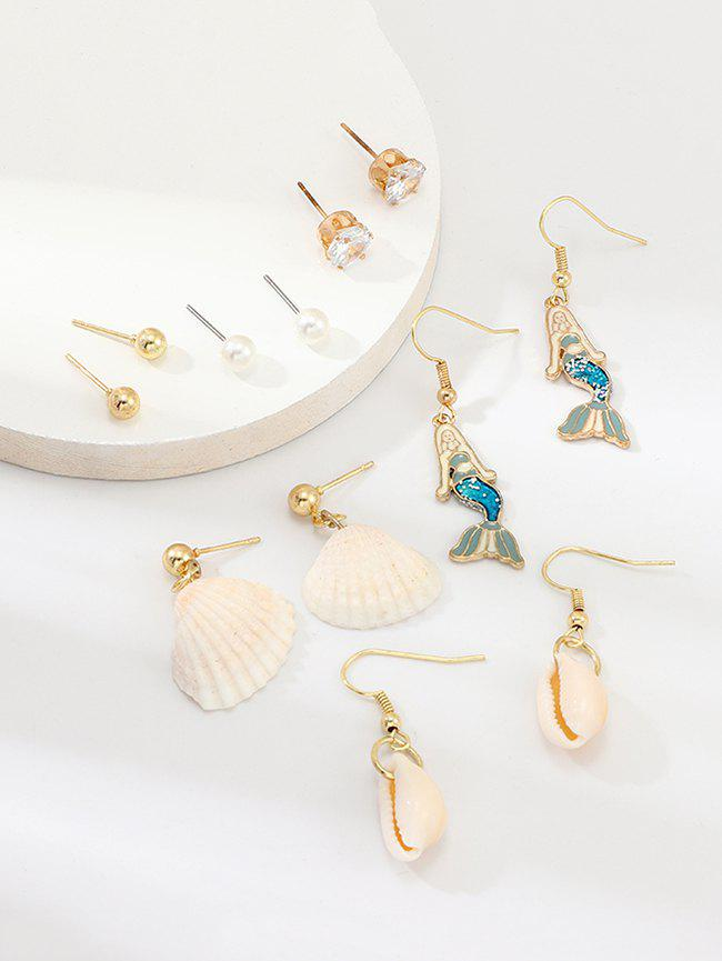 6Pairs Mermaid Shell Faux Pearl Earrings Set - GOLD