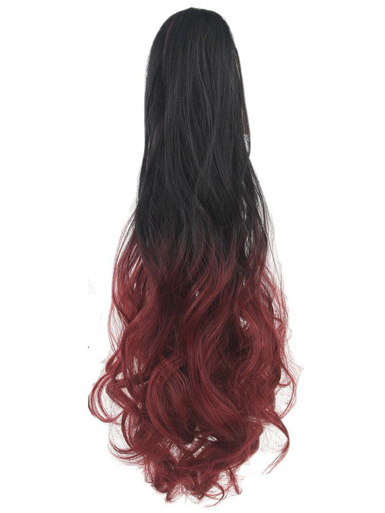 Long Body Wave Clip On Synthetic Ombre Hair Extension - RED WINE
