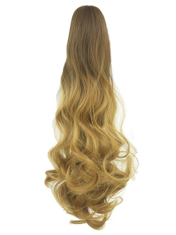 Long Body Wave Clip On Synthetic Ombre Hair Extension - CINNAMON