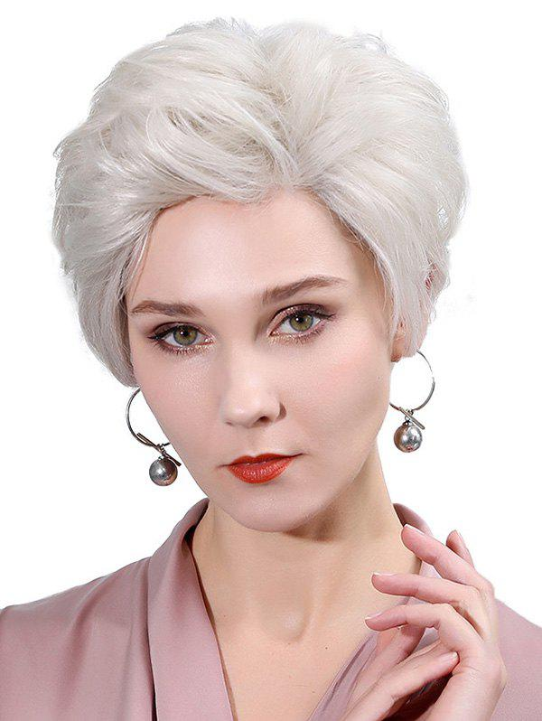 Side Part Straight Fluffy Lace Front Human Hair Wig - PLATINUM