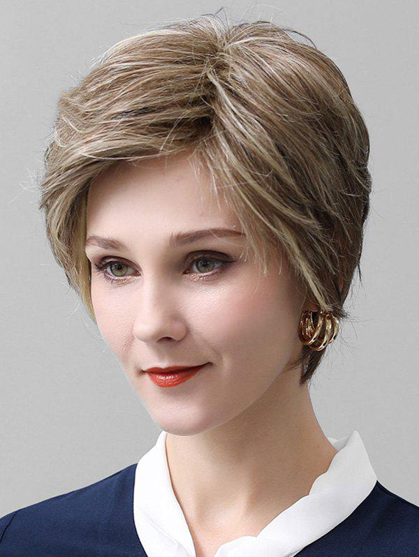 Side Bang Lace Front Straight Short Human Hair Wig - multicolor