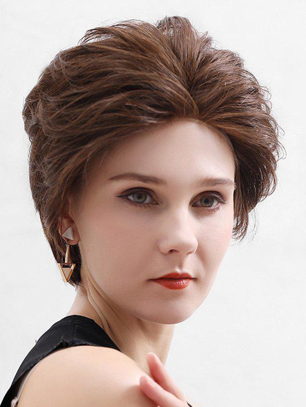 Straight Human Hair Lace Front Short Fluffy Wig - BROWN