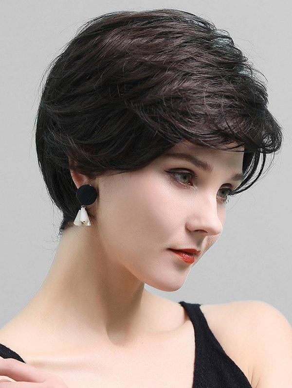 Side Part Short Layered Straight Human Hair Lace Front Wig - DEEP BROWN
