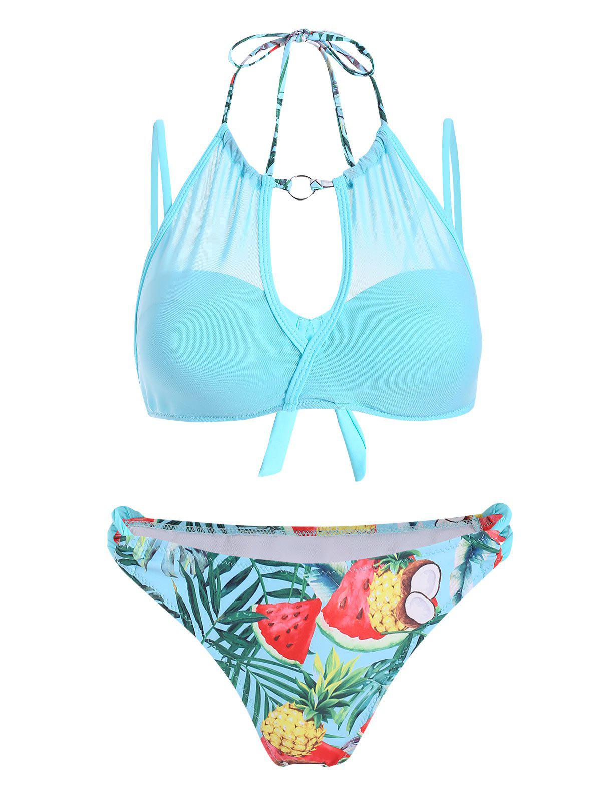 Fruit Tropical Feuille superposition en maille Push Up Bikini maillot de bain - Céleste L
