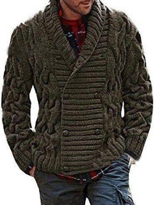 Shawl Collar Double Breasted Twist Knit Cardigan - ARMY GREEN 2XL