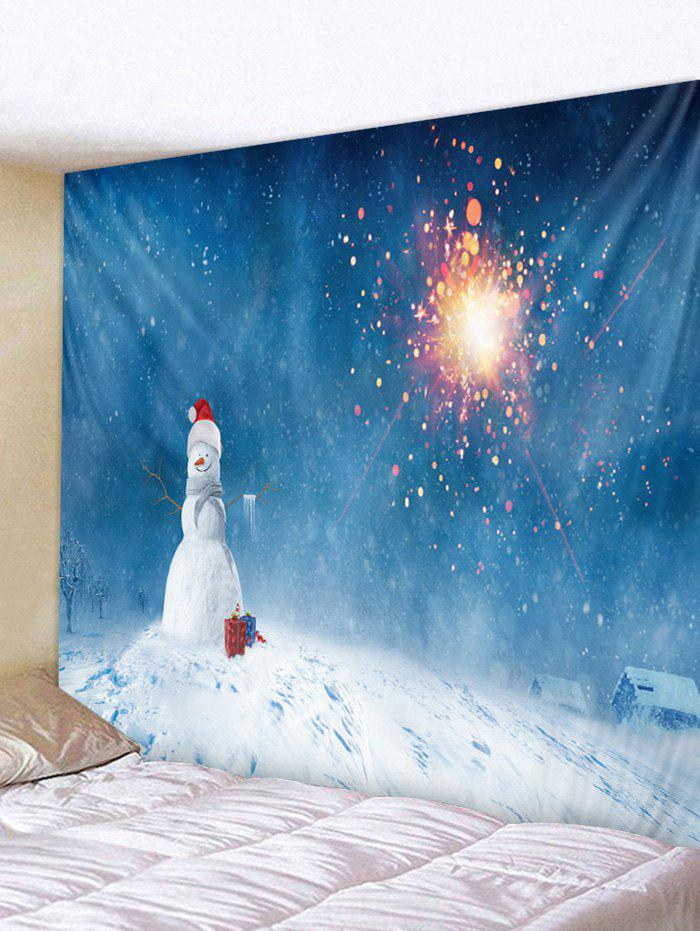 Christmas Snowman Gifts Firework Print Tapestry Wall Hanging Art Decoration - multicolor W79 X L59 INCH