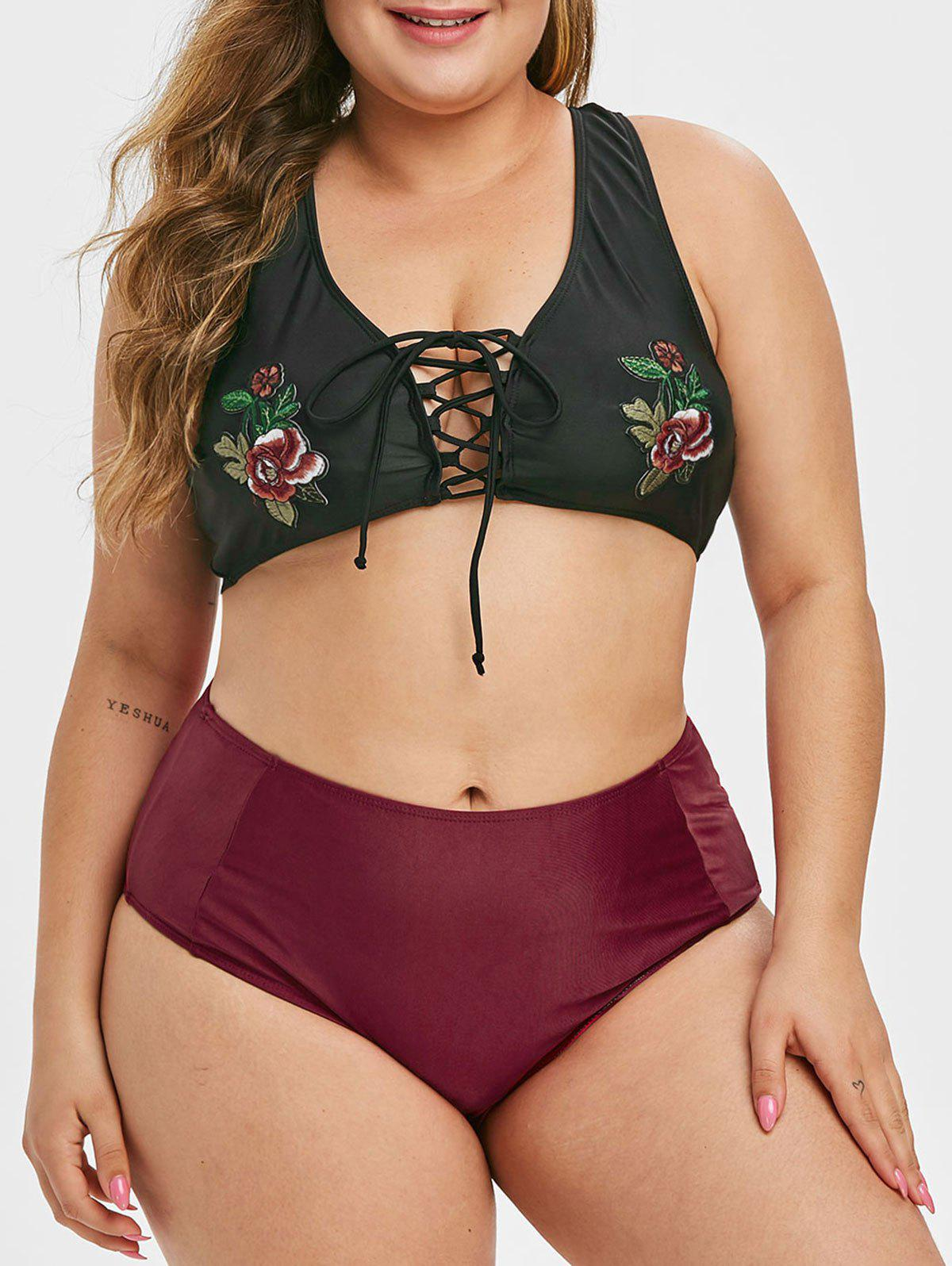 Plus Size Embroidered Lace Up Bikini Swimsuit - BLACK 5X