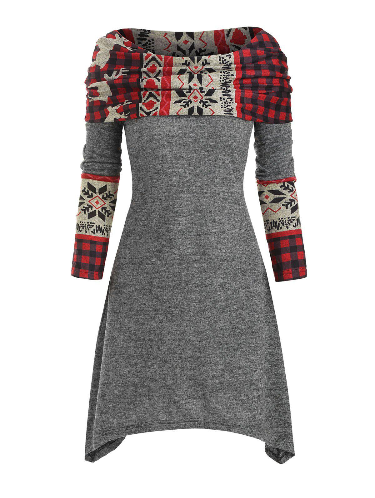 Christmas Elk Plaid Knitted Multiway Asymmetrical Dress - GRAY XL