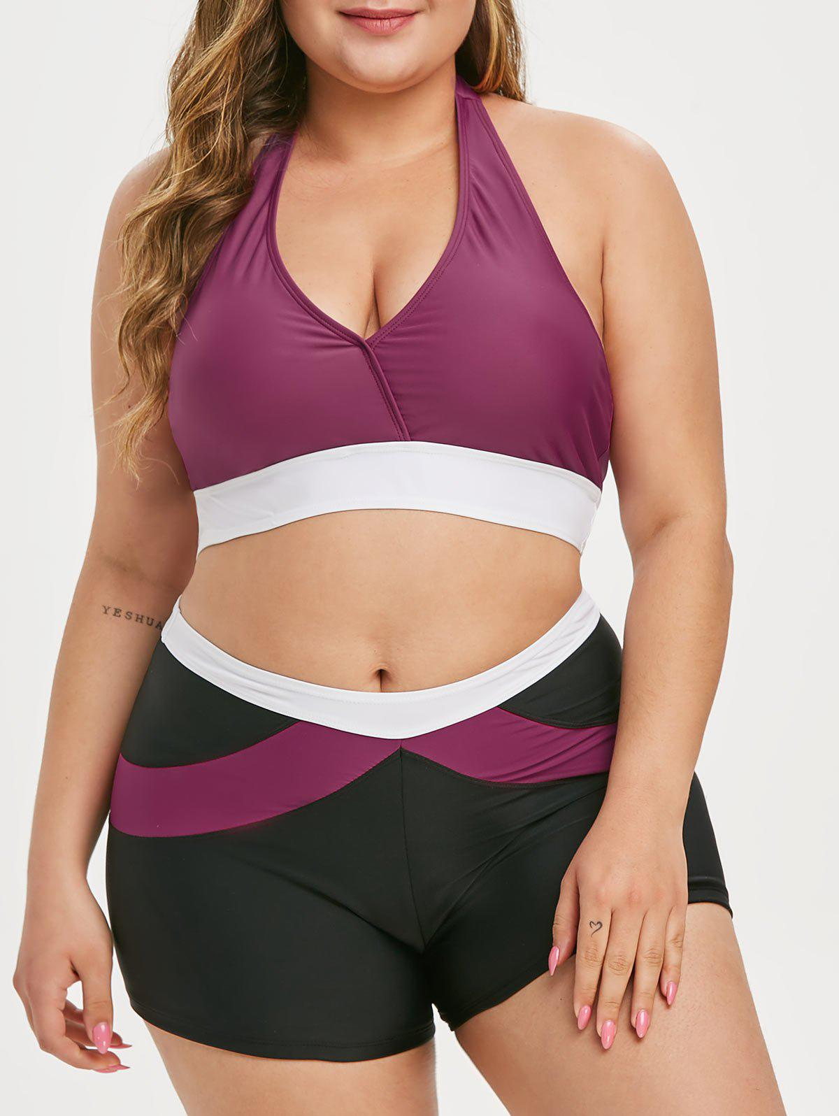 Colorblock Halter Plus Size Bikini Swimsuit - RED WINE 3X