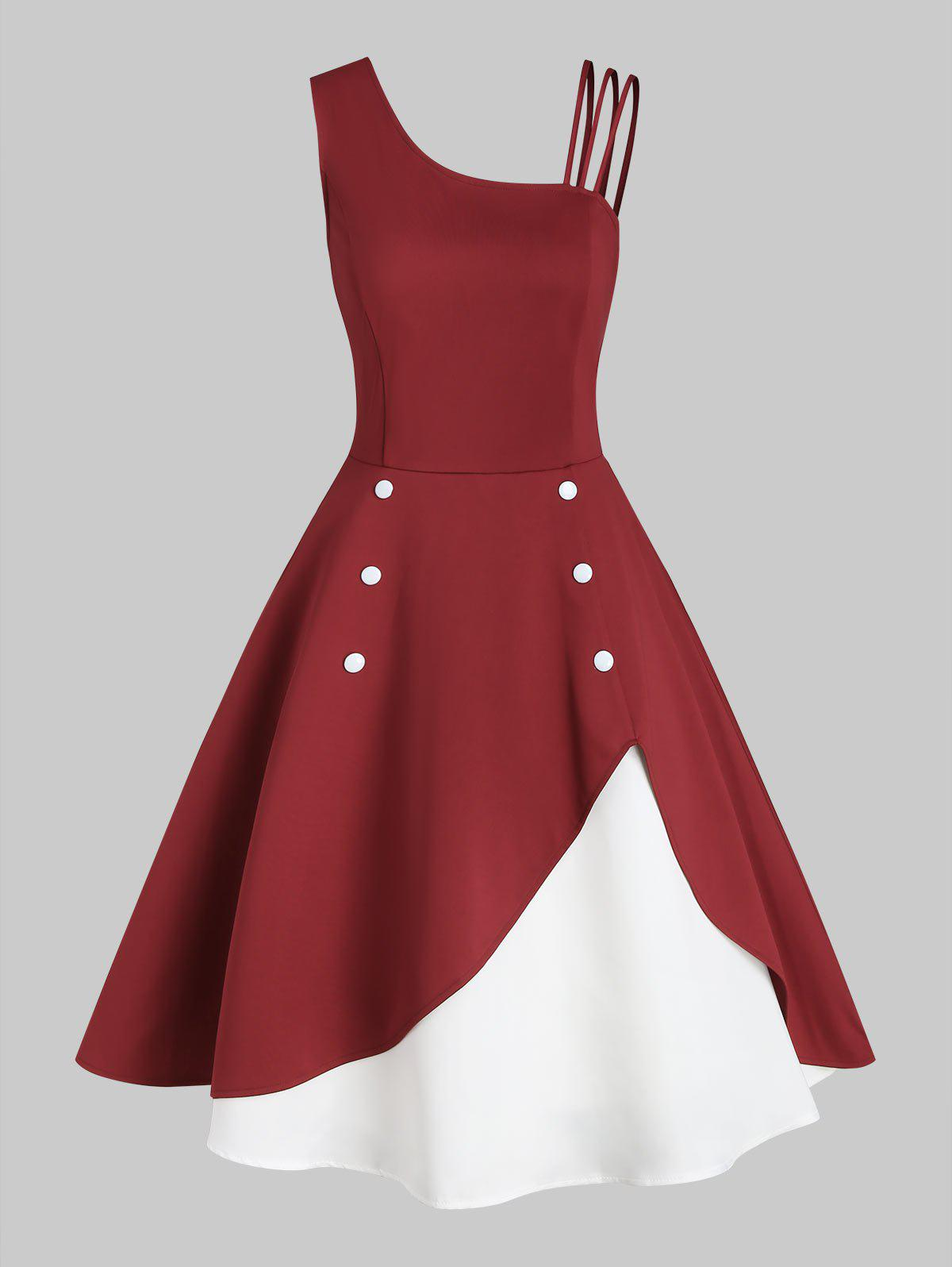Skew Neck Button Embellished Colorblock Rockabilly Style Dress - RED WINE XL