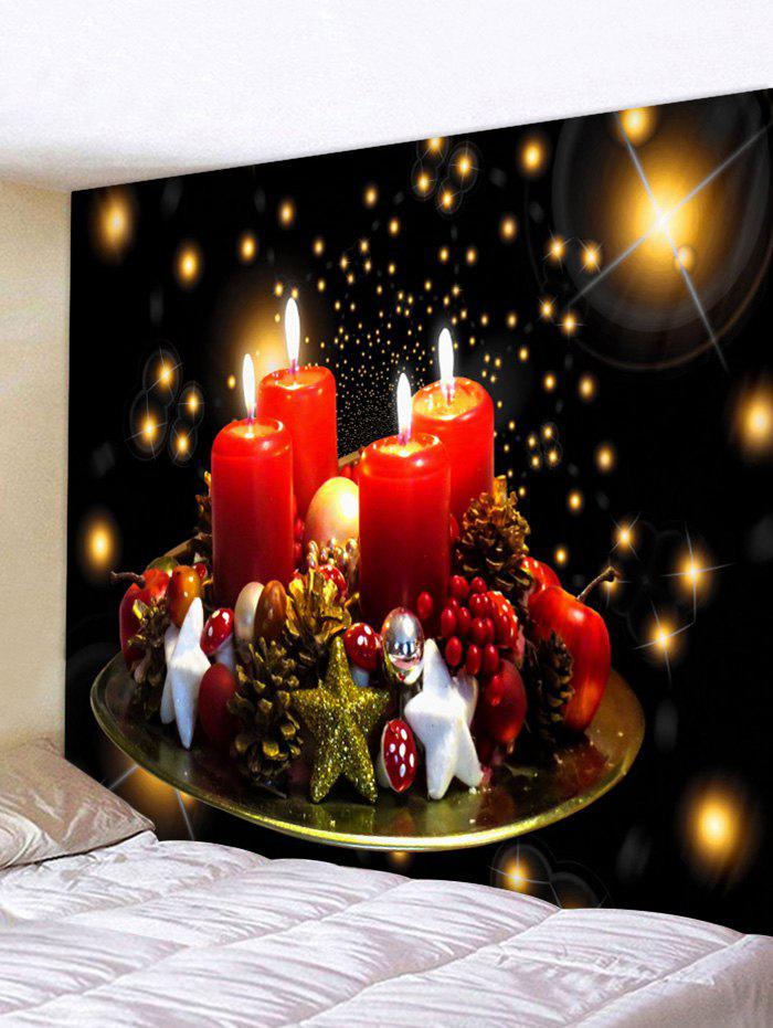 Christmas Star Candle Print Tapestry - multicolor W79 X L59 INCH