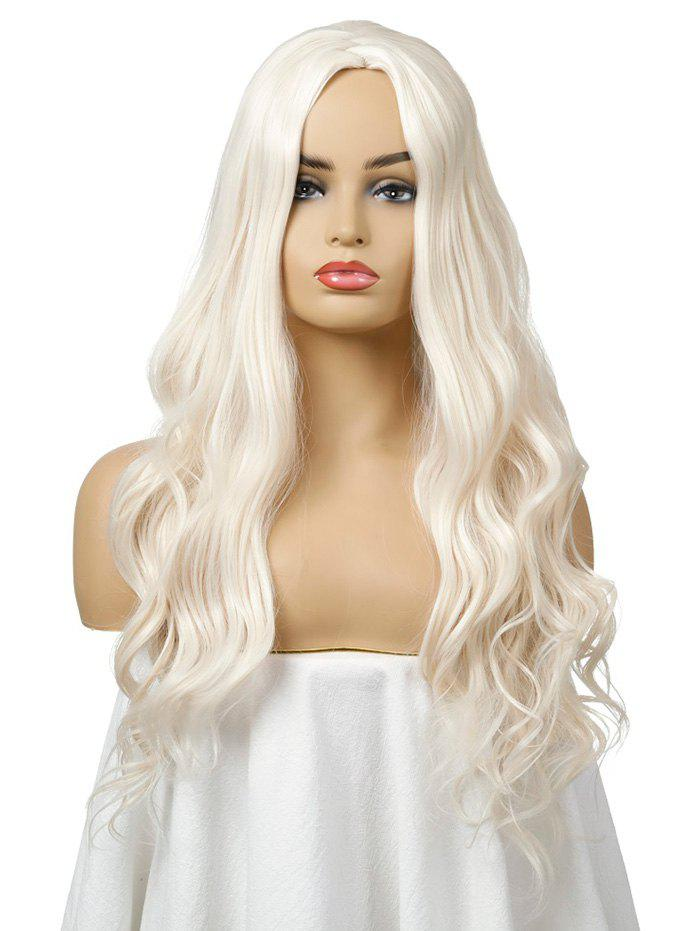 Synthetic Long Body Wave Center Part Cosplay Wig - ANTIQUE WHITE