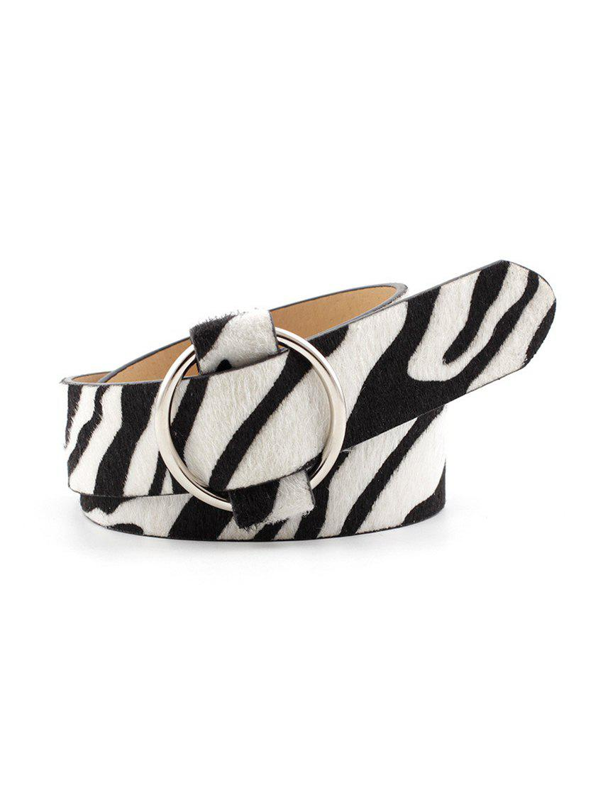 Animal Skin Print Round Buckle Casual Belt - WHITE