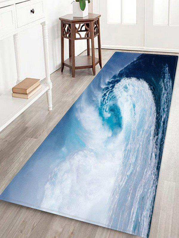 Ocean Wave Patterned Water Absorption Area Rug - multicolor W24 X L71 INCH