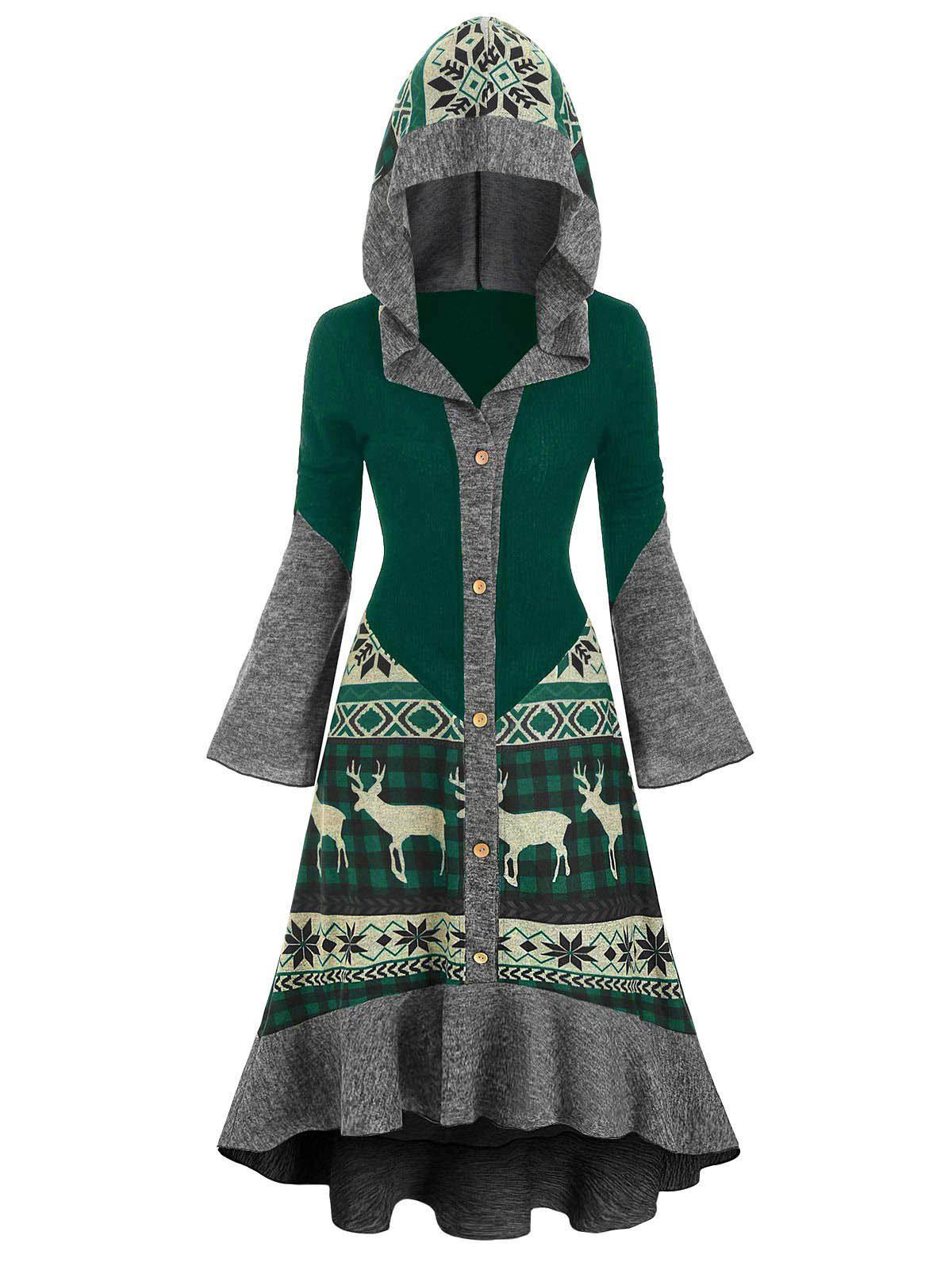 Christmas Elk Hooded High Low Flounce Hem Knitted Dress - multicolor A M