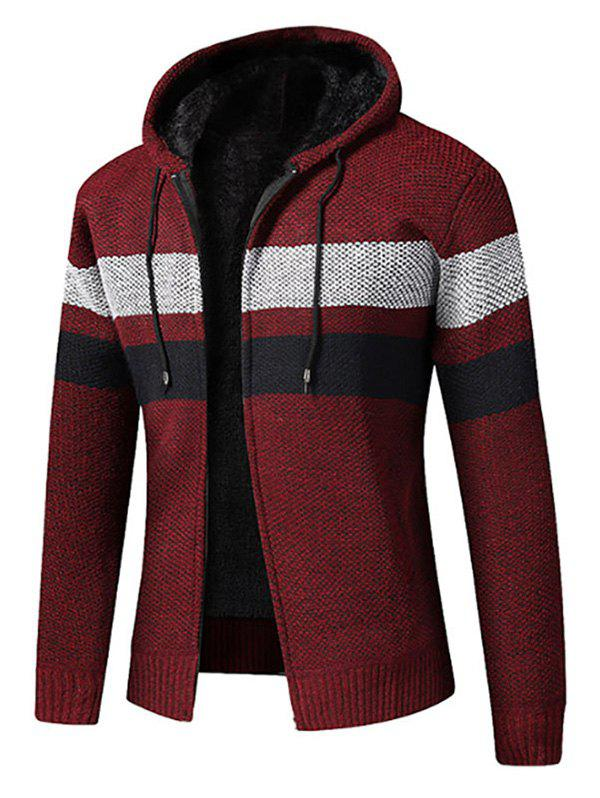 Color Spliced Zip Up Fluffy Cardigan - RED WINE S