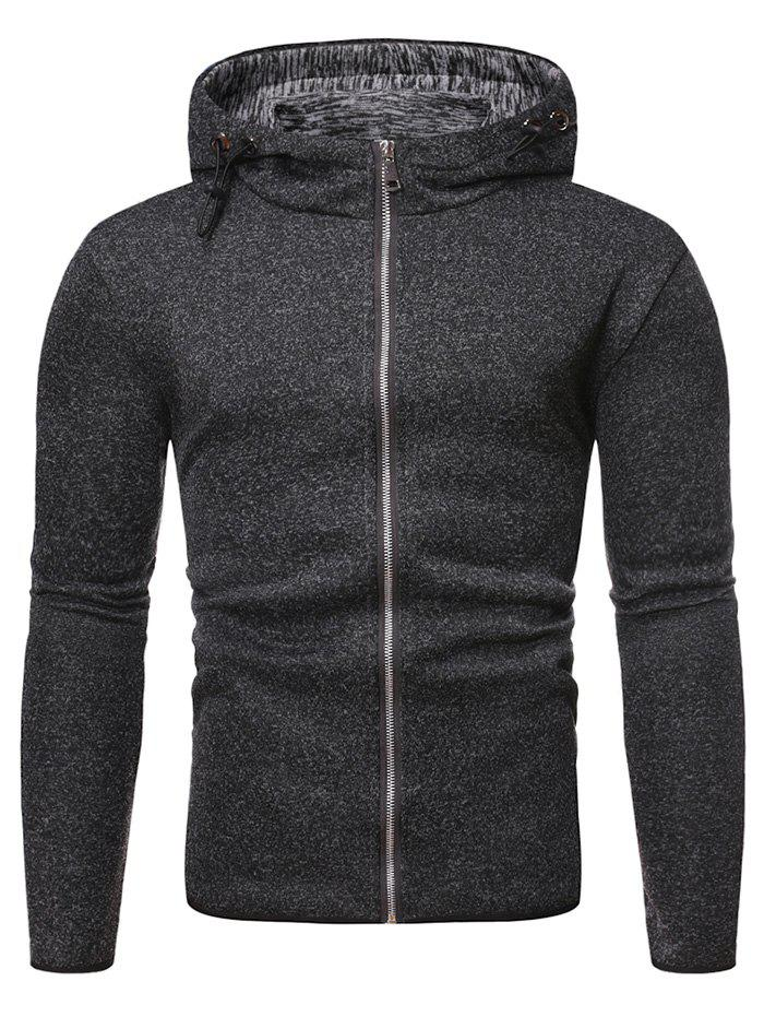 Solid Color Zipper Hooded Sweatshirt - BLACK M