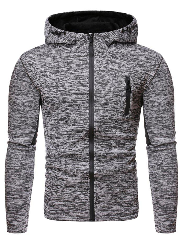 Solid Color Zipper Up Hooded Sweatshirt - GRAY M