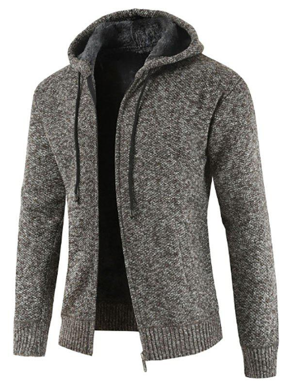 Casual Zip Up Hooded Fluffy Cardigan - COFFEE XS