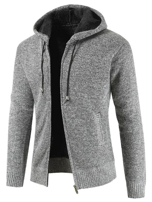 Zip Up Casual capuche Fluffy Cardigan - Gris L