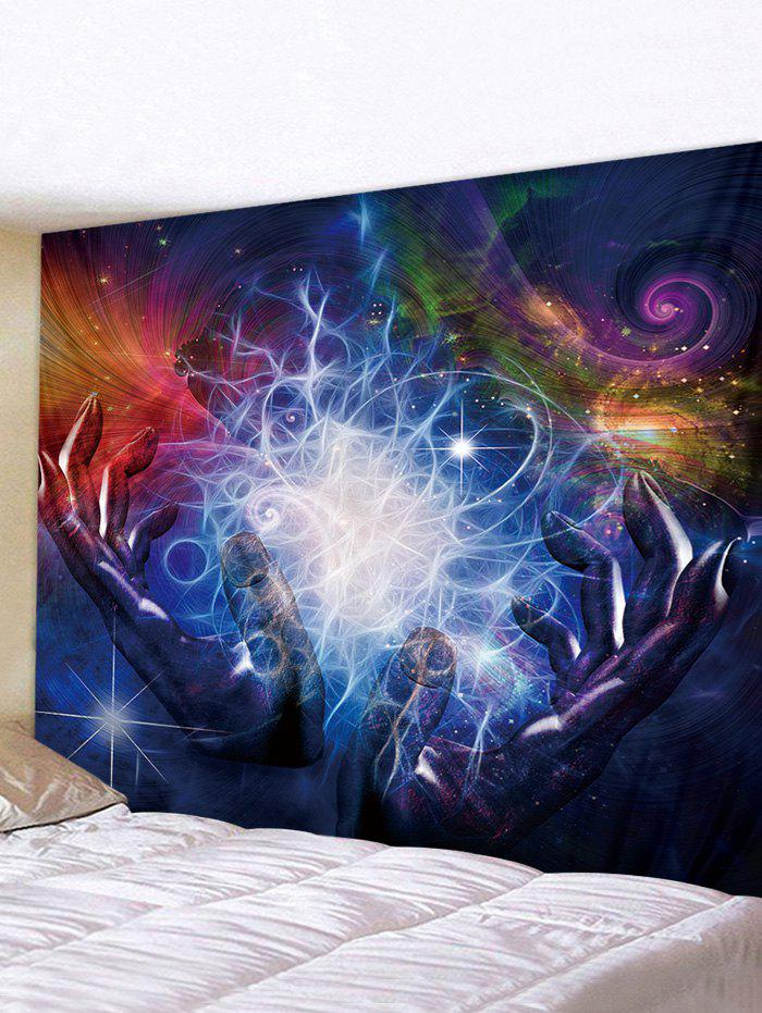 Hands Universe Print Tapestry Wall Hanging Art Decoration - multicolor W91 X L71 INCH