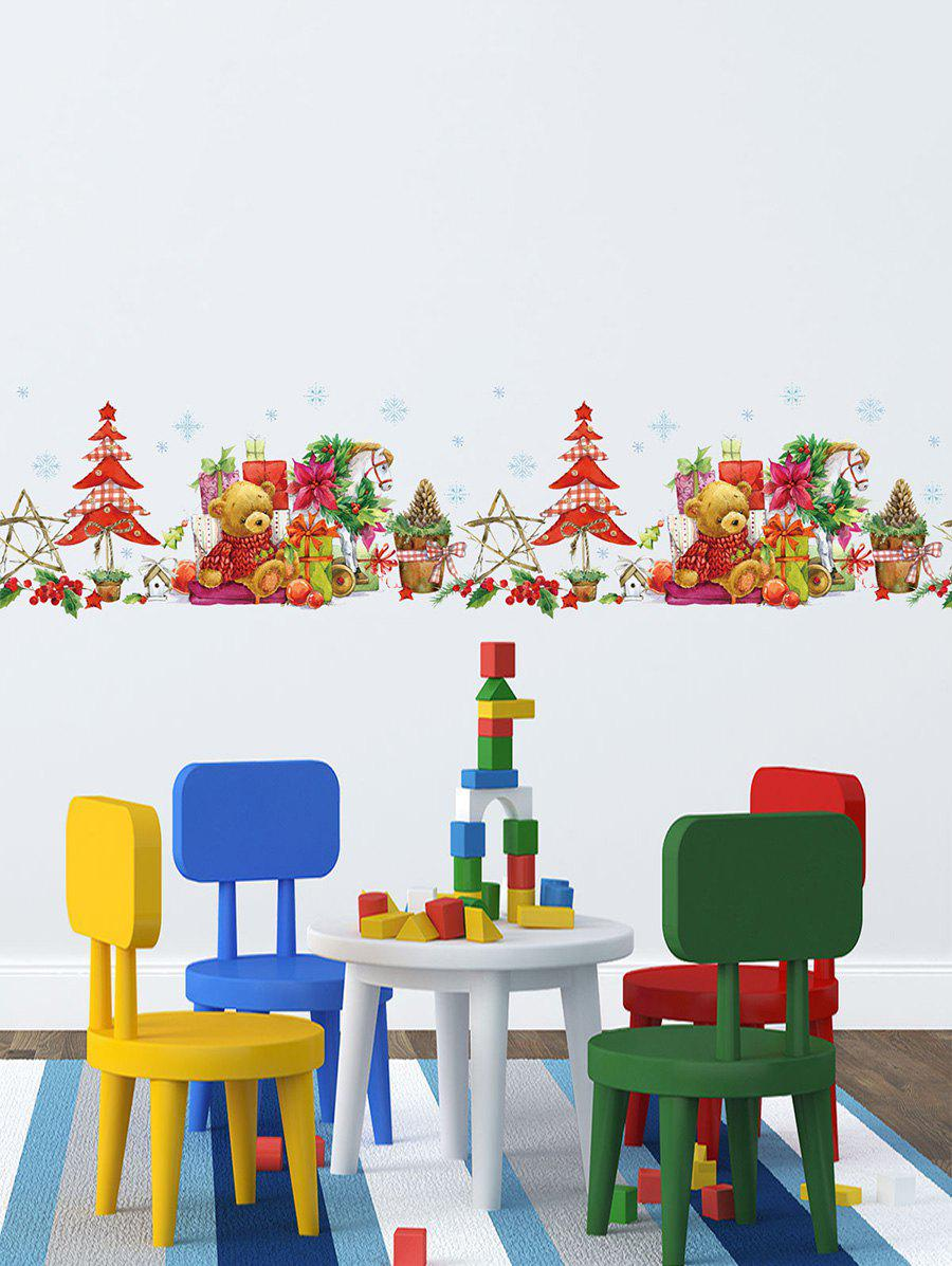 Christmas Gift Bear Design Wall Sticker - multicolor 30*60CM