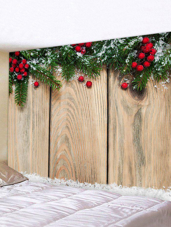 Christmas Branches Berry Wood Grain Print Tapestry Wall Hanging Art Decoration - multicolor W71 X L71 INCH