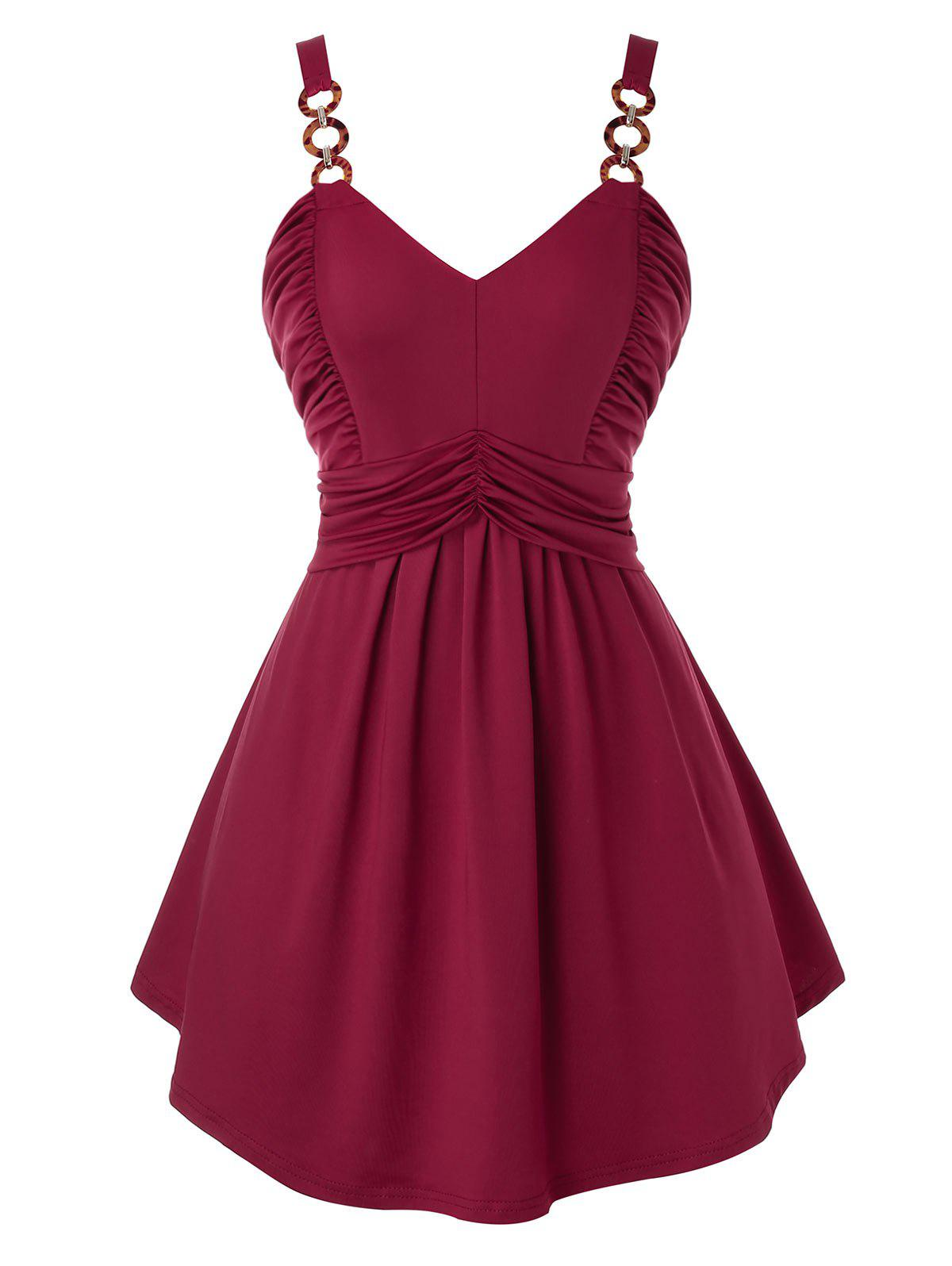 Plus Size Ring Ruched Backless Tunic Tank Top - RED WINE 3X