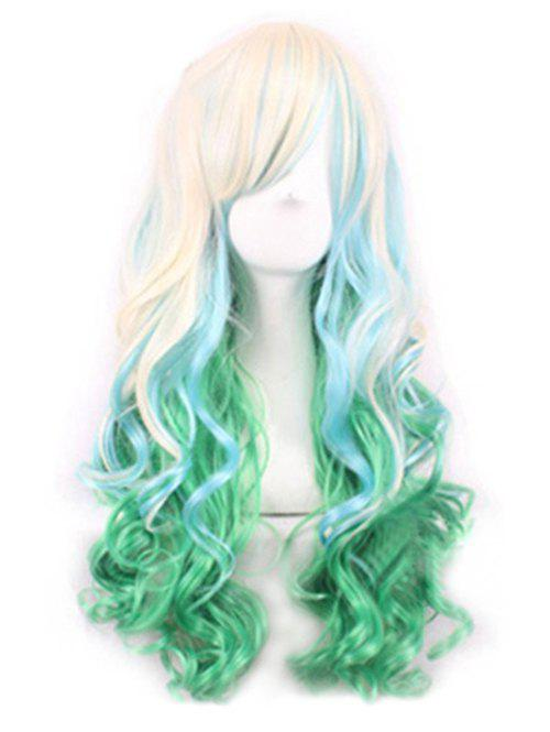 Ombre Party Cosplay Long Body Wave Synthetic Side Bang Wig - LIGHT GREEN