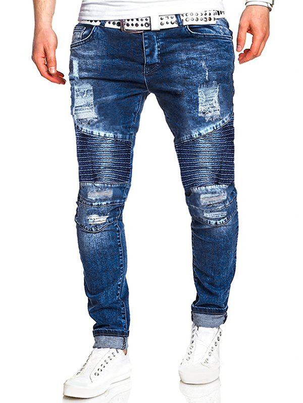 Ripped Drape Panel Zip Fly Jeans - BLUE L