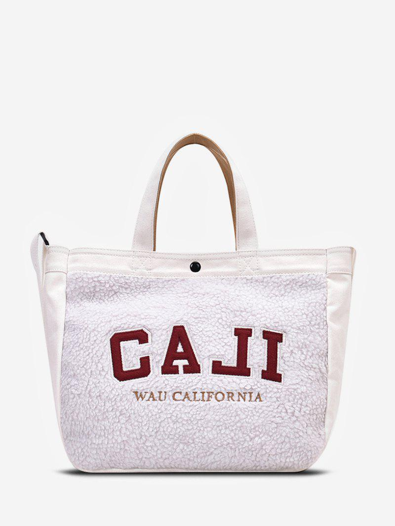 Graphic Pattern Suede Tote Bag - WHITE