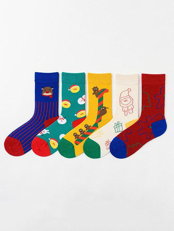 5Pairs Christmas Cartoon Elk Snowman Print Socks Set - multicolor A