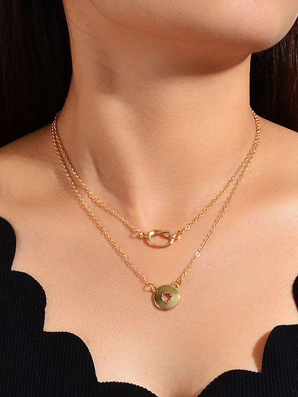Brief Hollow Pendant Double Layered Necklace - GOLD