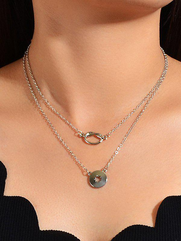 Brief Hollow Pendant Double Layered Necklace - SILVER