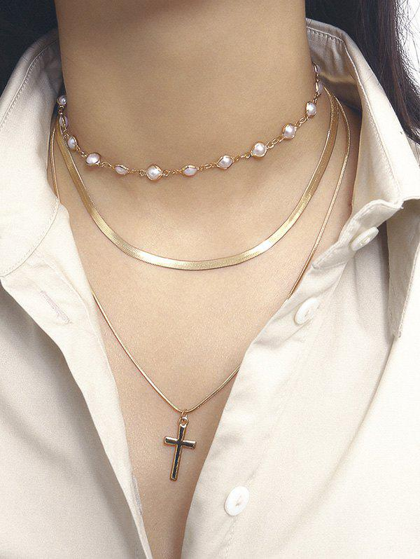 Cross Pendant Faux Pearl Layers Necklace - GOLD