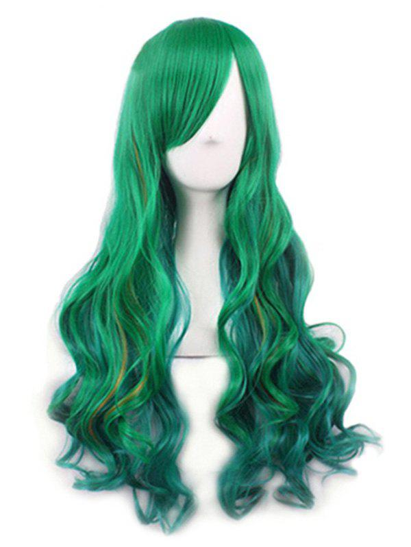 Chic Long Synthetic Body Wave Party Wig - GREENISH BLUE