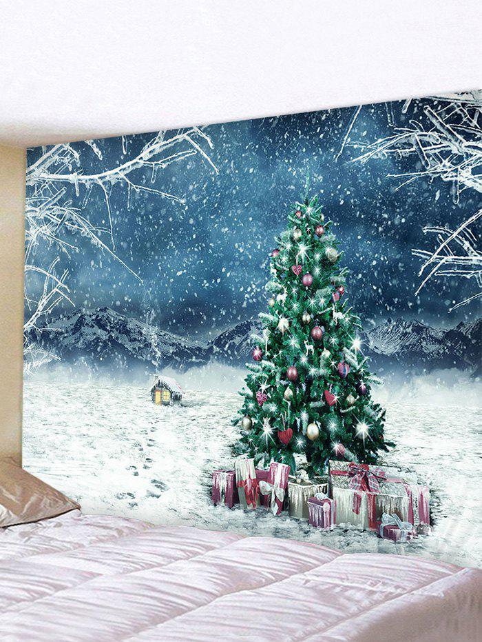 Christmas Tree Gifts House Print Tapestry Wall Hanging Art Decoration - multicolor W91 X L71 INCH