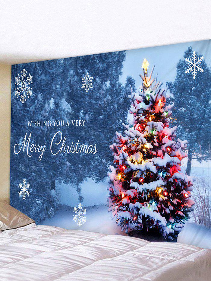 Christmas Tree Forest Greeting Print Tapestry Wall Hanging Art Decoration - multicolor W59 X L51 INCH